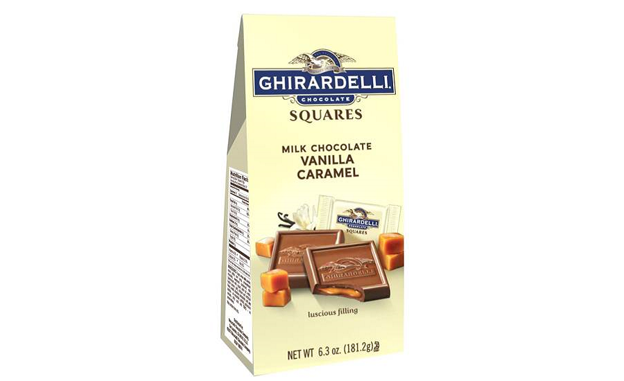 New Ghirardelli Milk Chocolate Vanilla Caramel Squares packaging