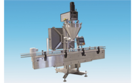 New auger filler with conveyor and checkweigher fills and weighs bottles automatically