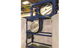 Side Grip Elevator Transports Filled & Capped Bottles to Over 7' Elevation