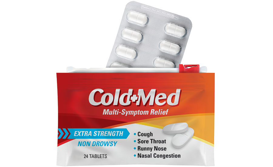 Cold medicine delivered in a child-resistant package with CHILD-GUARD technology and strength properties of the pouch