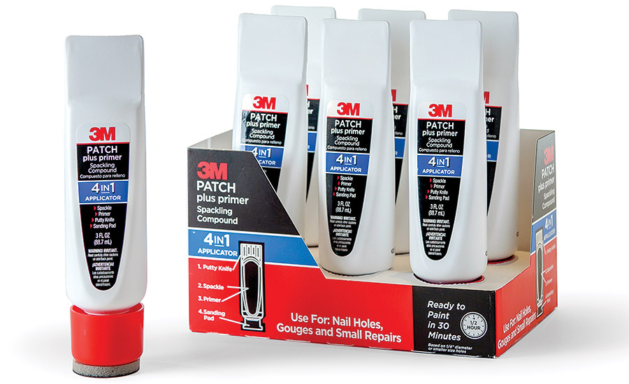 The 3M Patch Plus Primer 4-in-1 package features a tube that contains 3M's combined patching plaster and paint primer product