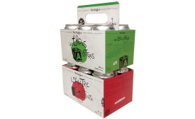 Paperworks Industries beer carton featuring a retractable handle
