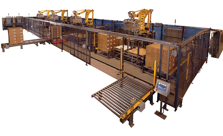 Palletizing system with four robotic cells, each handling two lines