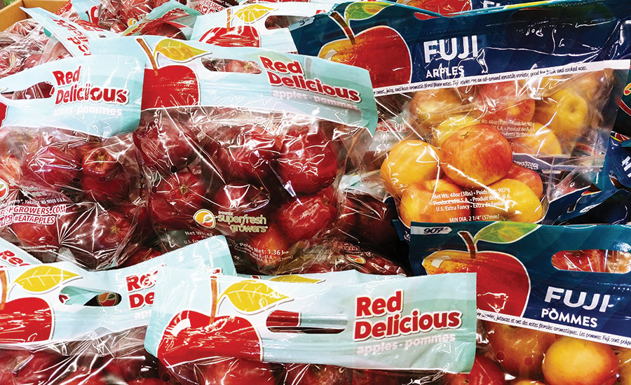 Apples in fresh produce pouches