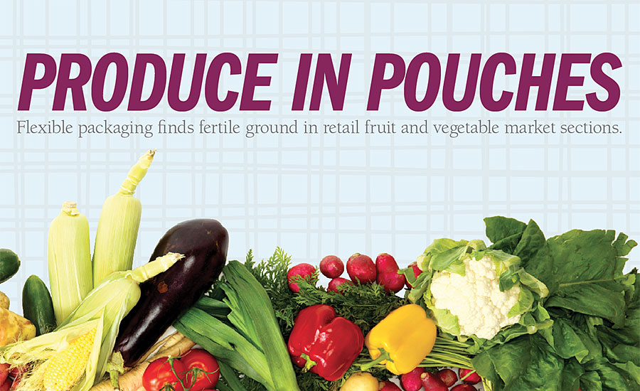 Produce in flexible packaging pouches