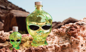 Outerspace Vodka is packaged in a highly distinctive green glass alien head package