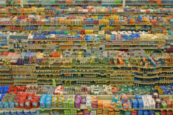 products on shelves, food production