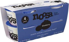 Noosa 4oz 4-pack blueberry yogurt, grab-and-go yogurts