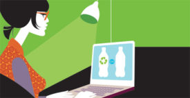 woman on computer recycle
