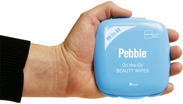 pebble on the go blue beauty wipes