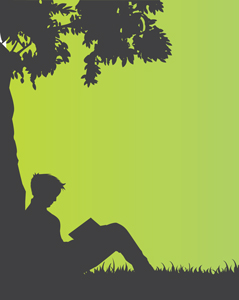 boy reading next to a tree graphic
