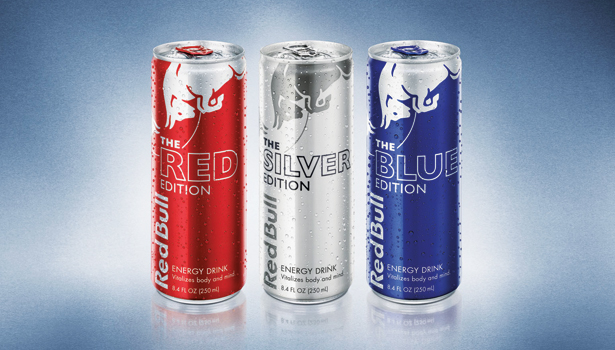 red bull red silver blue edition energy drink