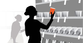 simple design graphic woman shopping