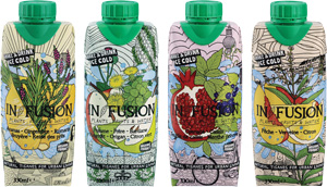 in fusion tea juice packaging