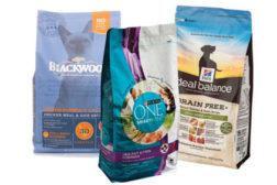 bags of pet food, pet food packaging