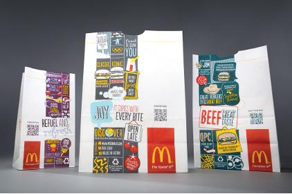 McDonalds adds QR code and new design to packages to tell brand stories and allow easy access to nutrition information