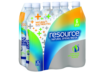 Nestle resource water comes in 50% recycled plastic bottle and is recyclable