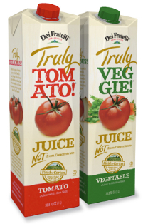 New tomato and veggie juice in reclosable cartons