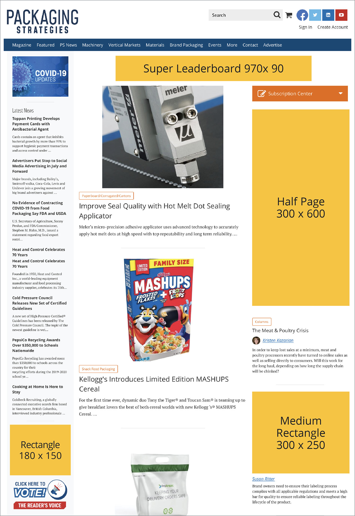 Packaging Strategies' homepage ads
