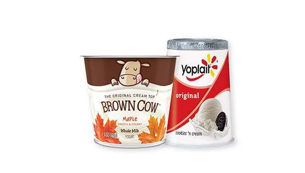 Brown Cow and Yoplait yogurt cups